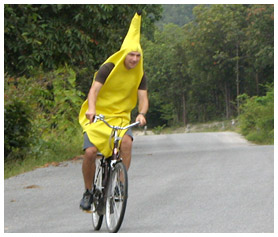 Neil in banana suit